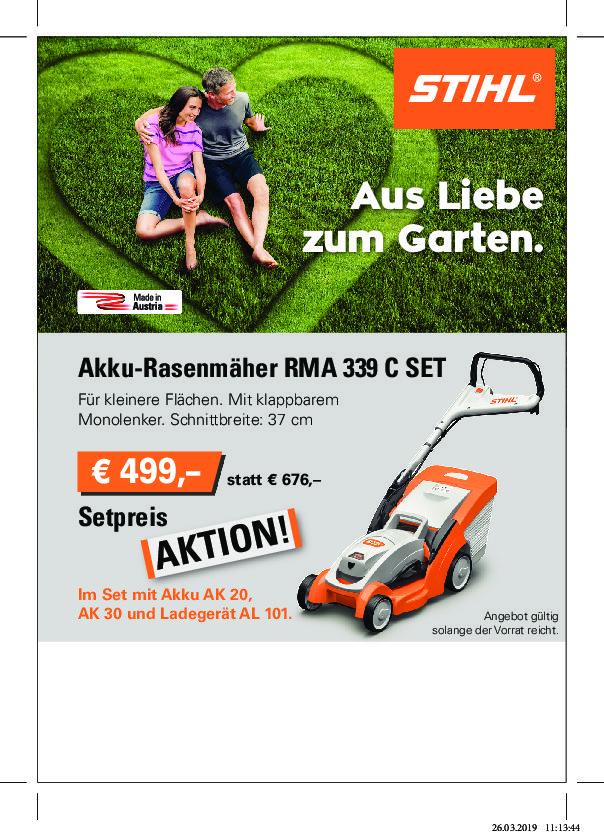 Frühjahrsaktion Stihl Akkumäher  RMA 339C  € 499,-