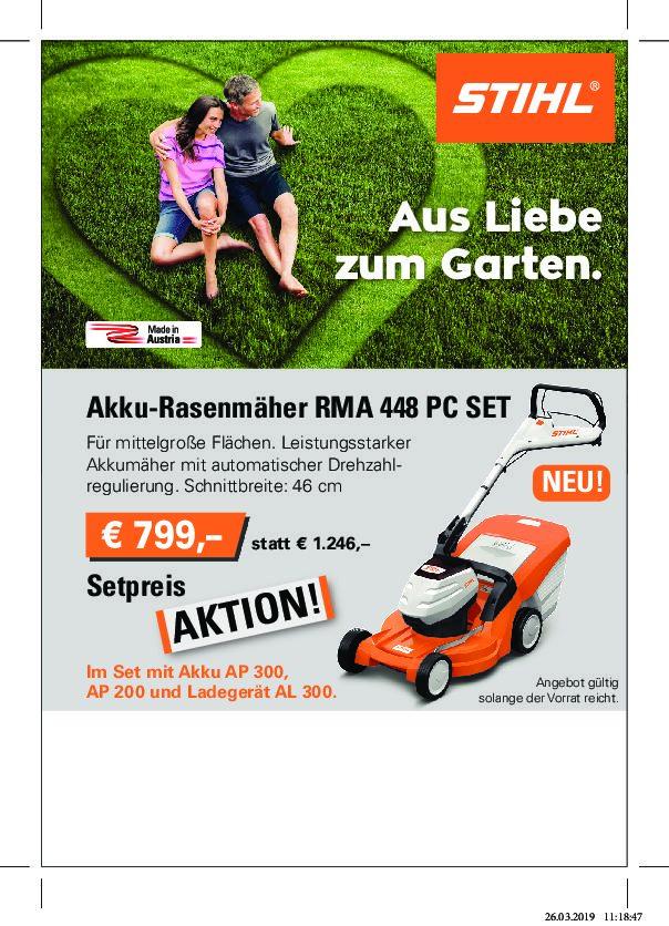 Aktion   Akkurasenmäher Stihl RMA  448 PC Set jetzt um € 799,-
